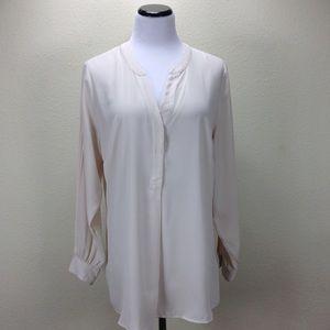 H&M Cream Long Sleeve V-Neck Blouse